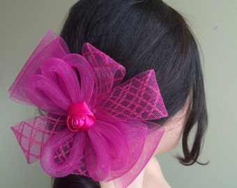 SINAMAY FASCINATOR , Fuchsia, Hot Pink /  F - 29