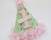 NEW Mint, Gold, and Pink Glam Polka Dot Birthday Party Hat