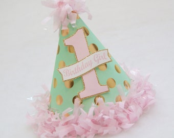 ONLY A FEW LEFT!!  Mint, Gold, and Pink Glam Polka Dot Birthday Party Hat