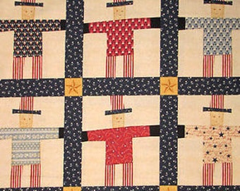 "Clearance FABRIC UNCLE SAM Patriotic Americana fabric 24"" long piece"