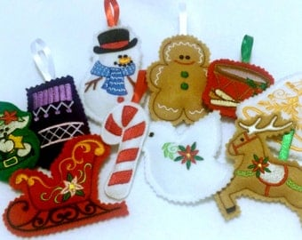 Felt Christmas ornaments - holiday ornaments - tree decorations - stocking stuffers - secret santa gift - gift tags -  #501
