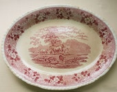 Antique Transferware Platter | Adams Staffordshire | English Scenic | Red Transfer | Pastoral Scene | Vintage Ironstone | Early Mark