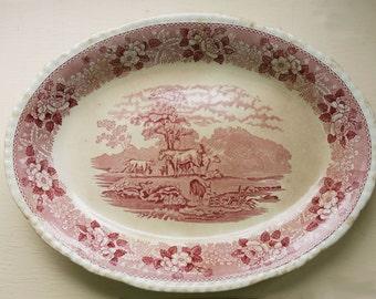 Antique Transferware Platter | Adams Staffordshire | English Scenic | Red Transfer | Pastoral Scene | Vintage Ironstone | Early Mark