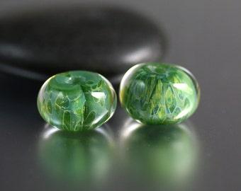 Green Lampwork Bead Pair