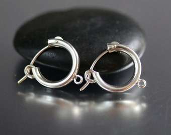 Sterling Silver Hoop Ear Wires with Loop