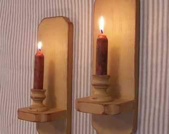Primitive Wall Sconce Pair Colonial Style Shabby Chic Candle Holders Farmhouse Tan Color Choice