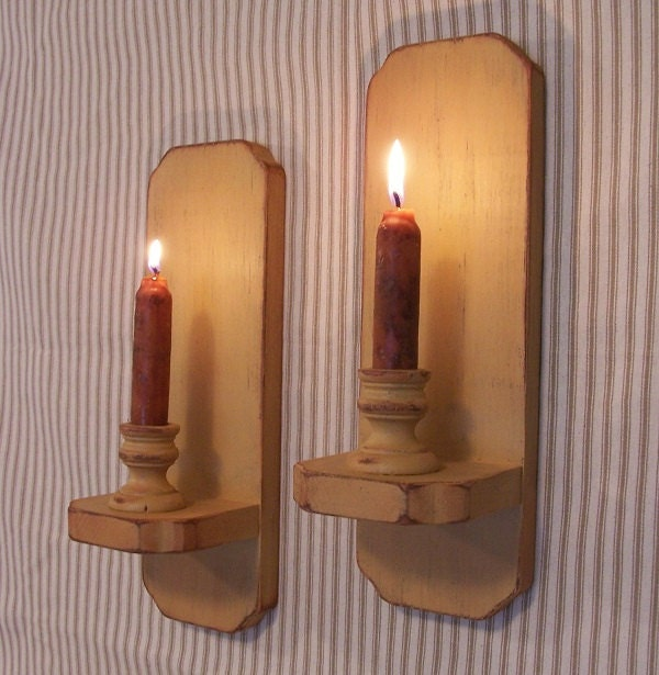 Primitive Wall Sconces Candles : Primitive Wall Sconce Pair Colonial Style Shabby Chic Candle