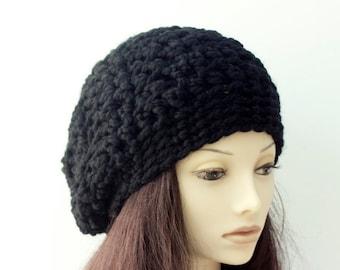 Chunky Slouchy Beanie,  Hand Crochet Hat, Black Slouchy Hat, Warm Winter Hat, Vegan Unisex Hat, Ready to Ship