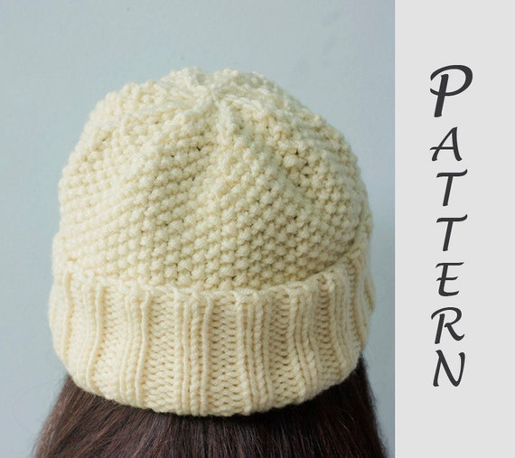 Simple Hat Knitting Pattern In The Round : Easy Hat Knitting Pattern Knit Hat PDF Pattern Winter Hat