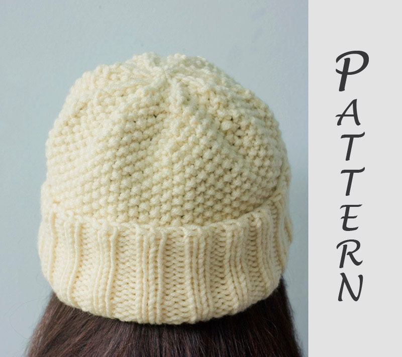 Easy Hat Knitting Pattern Knit Hat PDF Pattern Winter Hat