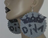 Light Denim Round Scallop Fabric Earrings with Embellished with a Queens in the word Diva, Large Earrings, Big Earrings, Women Earrings