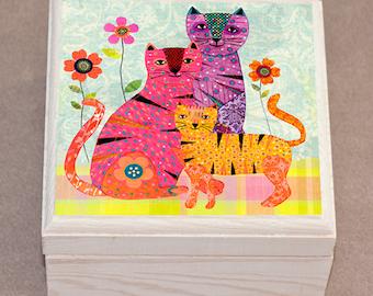 Cat Jewelry Box, Collage Retro Cat Family, Wooden Jewelry Box