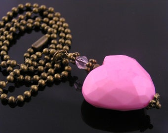 Pink Heart Necklace, Pink Heart Jewelry, Gift Idea, Pink Necklace, Heart Pendant, Heart Charm
