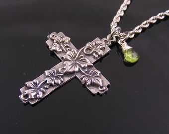 Ornate Christian Cross Pendant Silver Necklace with Wire Wrapped Birthstone - Gemstone, Birthstone Necklace, August Birthstone, Peridot Neck