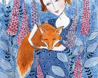 Fox Love. Art print from my watercolour painting, wall art, A4