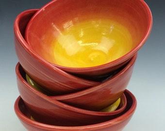 Red Sunburst Cereal Bowl