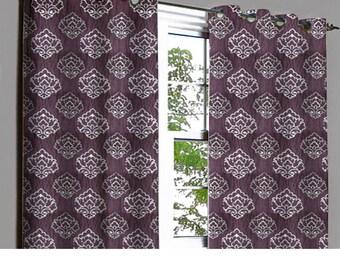 Zaira Purple & Silver Damask Grommet Lined Curtain in Textured Jacquard Weave Fabric Decor Housewares Window Treatment Drape Curtain Panels