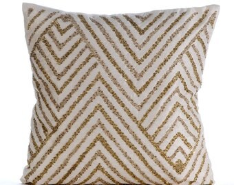"""Ivory Decorative Pillow Cover,  Square  Sequins Chevron Zig Zag Glitter 16""""x16"""" Cotton Linen Throw Pillows Cover - Gold Silver Tinsel"""