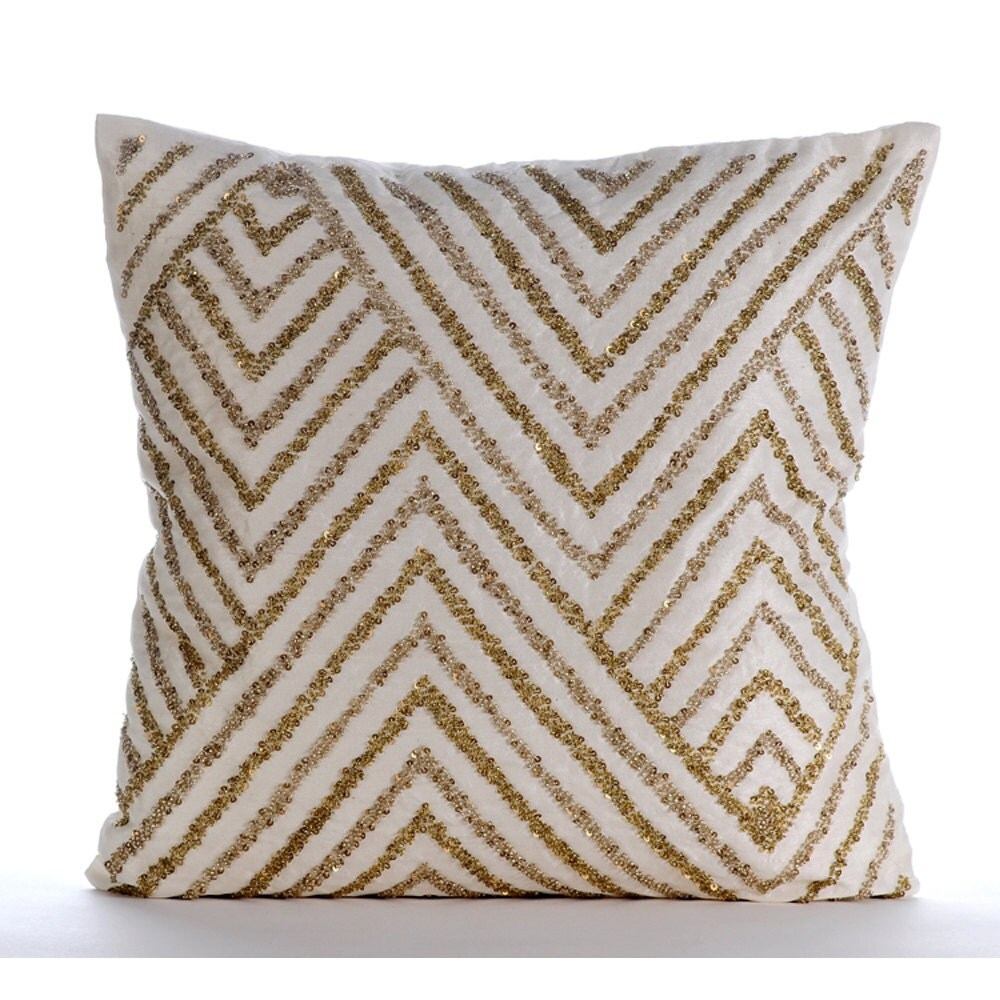 Ivory Decorative Pillow Cover Square Sequins Chevron Zig