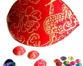 MERZIEs silk embroidered brocade Chinese style jewelry bead storage box pouch red gold