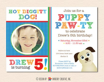 Puppy Paw-ty - Primary Colors - Dog Theme Birthday Party Invitation (Digital File OR Cardstock Printed Cards Also Available)