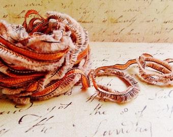 Peach Orange Pastel Gemini Fringe Ribbon Garland ~Novelty trim Scrapbooking wedding favor craft supply, holiday gift wrap mixed fiber art