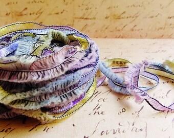Pastel Yellow Pink Periwinkle Gemini Fringe Ribbon Garland ~Novelty trim Scrapbooking wedding favor craft, holiday gift wrap mixed fiber art