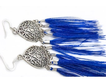 Flowing Chandelier Blue or Teal Peacock Feather Earrings