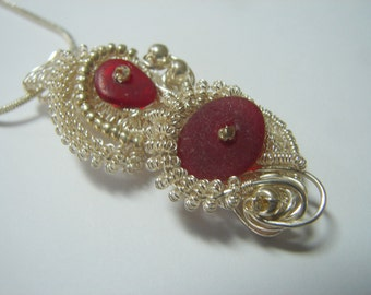 Sea Glass Seaglass  Pendant- Rare RED  Sea glass Sterling and Fine Silver Wrapped and Woven Sculpted Wire