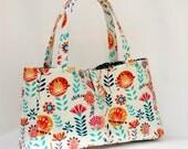 On Sale Mini Tote Bag, Handbag Wildflowers in Cream, Womens Handbag, Every Day Bag, Ready to Ship