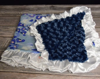 Designer Texas Bluebonnet double minky blanket with white satin ruffle.