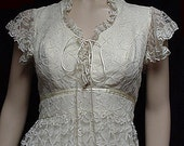 This Dress is on HOLD Vtg 1960s Long Wedding or Prom Dress Ivory Lace - Jr. Theme 7-8 - Unworn