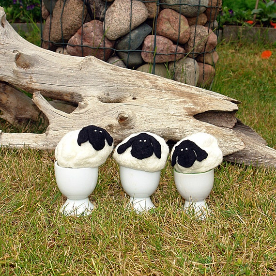 Felted Egg Warmers - Fluffy Sheep -  Egg Cozy - White lambs with black faces- Tabble Decoration