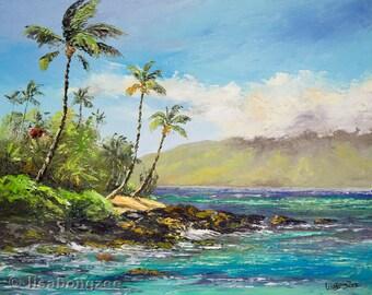 MAUI HAWAII 11x14 Original Oil Painting Art Beach Shore Tropical Ocean Surf Kahana Pohaku Palm Tree Relax Wedding Lanai Molokai Paradise