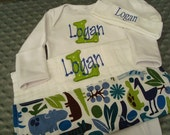 Logan Personalized Gown or Bodysuit/Onesie Hat and Burp cloth HomeComing Outfit Going Home Outfit - Name or up to 3 initials