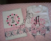 Adalyn Personalized Bib and Burp cloth - Name and/or up to 3 initials