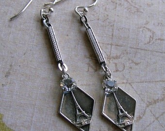 Sterling Eiffel Tower Earrings With Antique Watch Chain, French Earrings, Eiffel Tower Charm Earrings