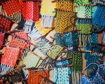Green Woven Bohemian Tapestry | Mini Woven Wall Hanging | Textile Wall Decor | Weaving Fabric Ornament | Handwoven Modern Boho Fiber Art