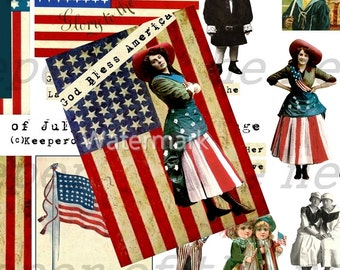4th of July Patriotic Photo Backgrounds Digital Collage Sheet ATC Mixed Media ACEO