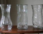 BOHEMIAN WEDDING: Three 3 Vintage Extra Large / Tall Crystal Clear Glass Vases, E.O. Brody OH & Hoosier - Indiana, Bulb / Diamonds / Tribal