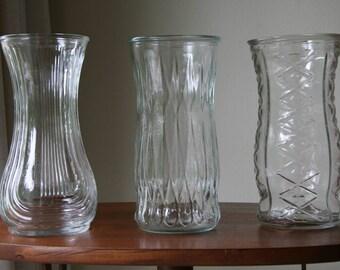 BOHEMIAN WEDDING: Three 3 Vintage Extra Large / Tall Crystal Clear Glass Vases, E.O. Brody OH & Hoosier - Indiana, Bulb / Diamonds / Tribal