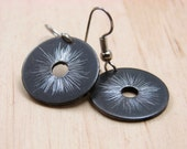 Black Dangle Earrings Hardware Jewelry Black Textured Industrial Washers