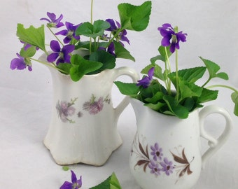 Two Vintage Ceramic Pitchers with Purple Flowers