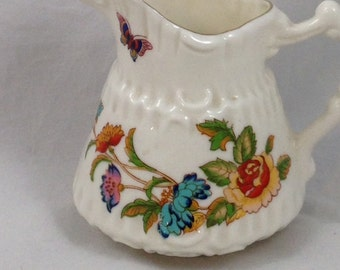 Vintage China, Ceramic Pitcher with Brightly Colored Flowers and Butterflys