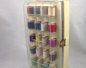 Vintage Lily Sewing Kit, Silky Cotton Thread on Wood Spools, Sewing Supplies
