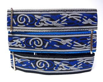 "1.5"" Blue CELTIC DOG Martingale Dog Collar renaissance, medieval, Safety Collar, Greyhound Collar, Sighthound Collar, Adjustable"