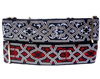 "1.5"" Martingale Dog Collar MYSTIQUE red and black Celtic or Renaissance, Safety Collar, Greyhound Collar, Sighthound Collar"
