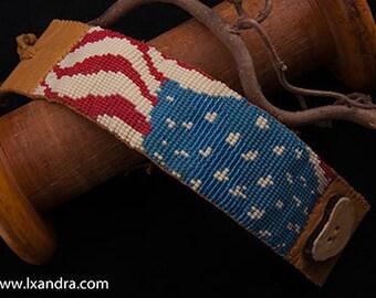 United States of America Flag -  Native American Beaded loom cuff