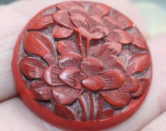 Button ~ Cinnabar - Medium or Small