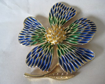 Flower Green Blue Gold Brooch Vintage Pin J.J. JJ